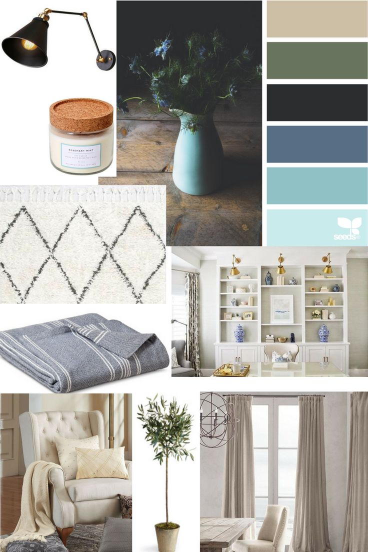 A traditional living room mood board with neutrals, greens and blues.