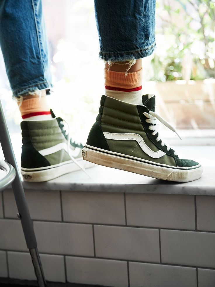 Two-Tone sk-8 Reissue High Top | Classic Vans sk-8 sneaks that have been reissued with two-tone detailing and suede accents. This lace-up high tops have a sturdy rubber sole for an ultra-comfortable wear.