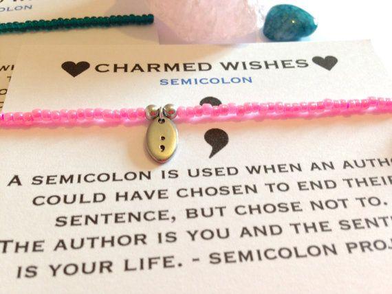 Semicolon bracelet Semi colon jewellery by CharmedWishesUK