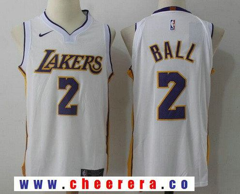 5af36954224 Men s Los Angeles Lakers  2 Lonzo Ball New White 2017-2018 Nike Swingman  Stitched NBA Jersey