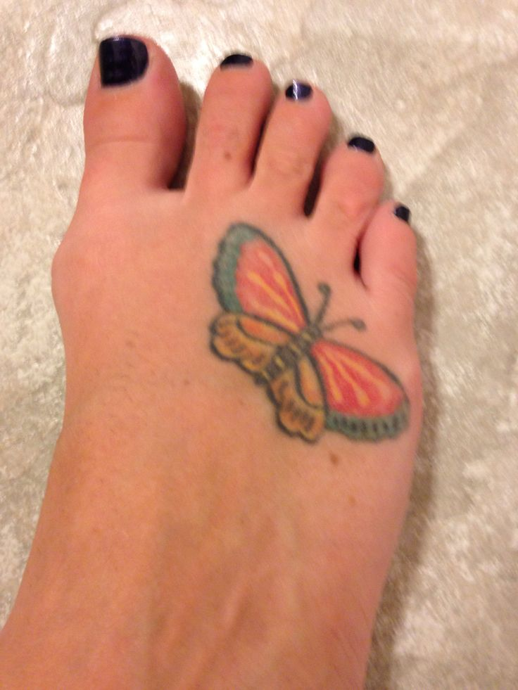 Butterfly On Foot Tattoo. Matches The One On My Moms Urn