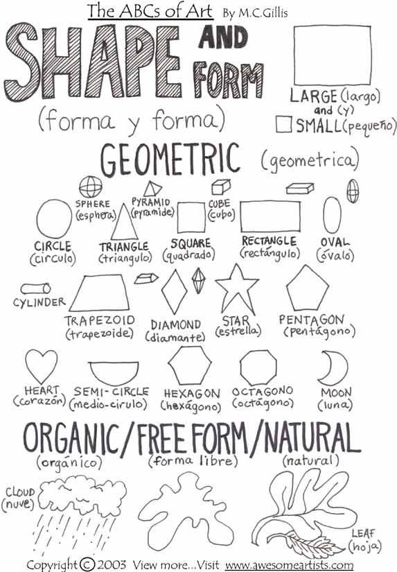 art lesson worksheets - Shape and form, geometric and organic/free form/natural