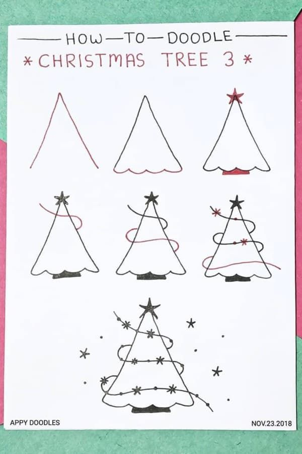 Christmas Tree Doodle : christmas, doodle, Bullet, Journal, Christmas, Doodle, Ideas, Crazy, Laura, Christmas,, Doodles,, Drawing