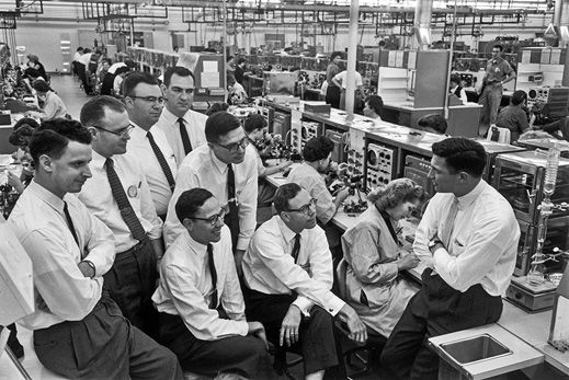 The team at Fairchild Semiconductor, shown here in 1960 in San Jose, California, would produce the first integrated circuit from silicon. Two, Gordon Moore and Robert Noyce, would later found Intel.