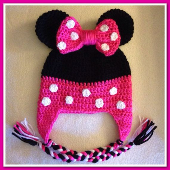 Minnie Mouse Crochet Baby Hat Pattern : Crochet Minnie Mouse hat for babies toddlers by ...