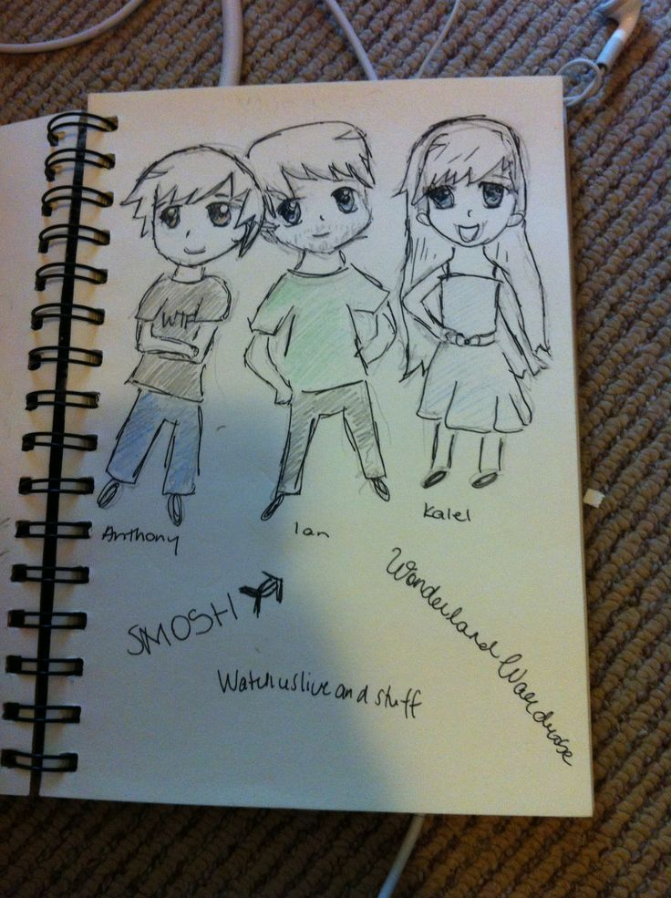 This is a pencil to paper sketch, unlike the others, and it is a chibi drawing of Anthony and Ian from Smosh, and Kalel from WonderlandWardrobe.