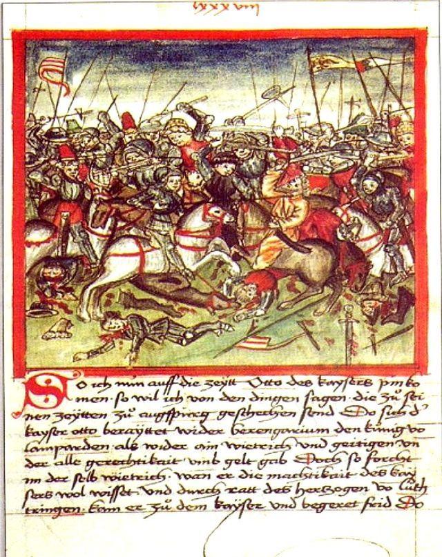 A 955-ös Augsburgi csata. Hektor Mülich 1457-ben készített könyvillusztrációja Sigmund Meisterlins Nürnberg város történetét leíró munkájához.