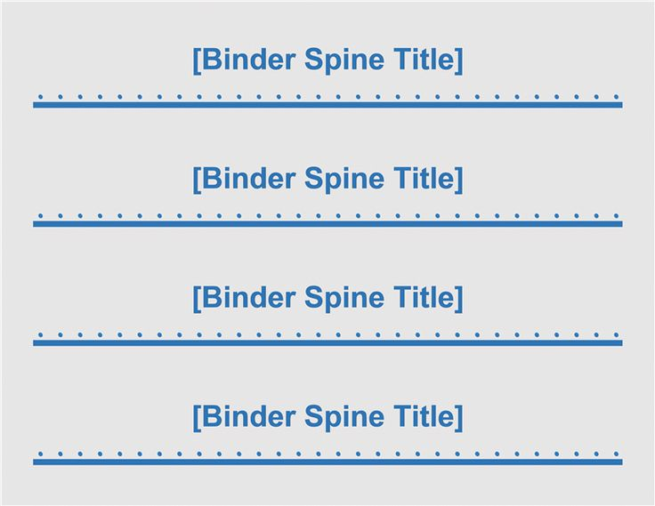 binder spine inserts template