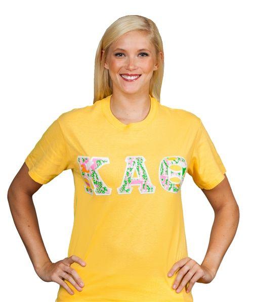 Kappa Alpha Theta Lilly Stitched Letter T-Shirt. www.sassysorority.com #theta #sororitygift #bidday #kat #sororitytshirts #thetatshirts #lilly #kappaalphatheta