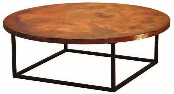 Hand Hammered Copper Coffee Table Julia Base Shown Round Item Ct03073 Also Available