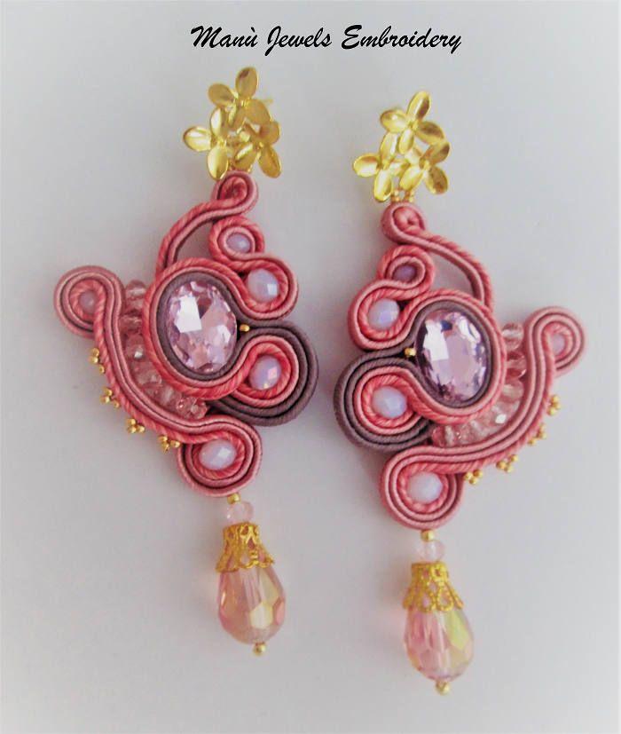 orecchini soutache rosa antico di ManuJewelsEmbroidery su Etsy