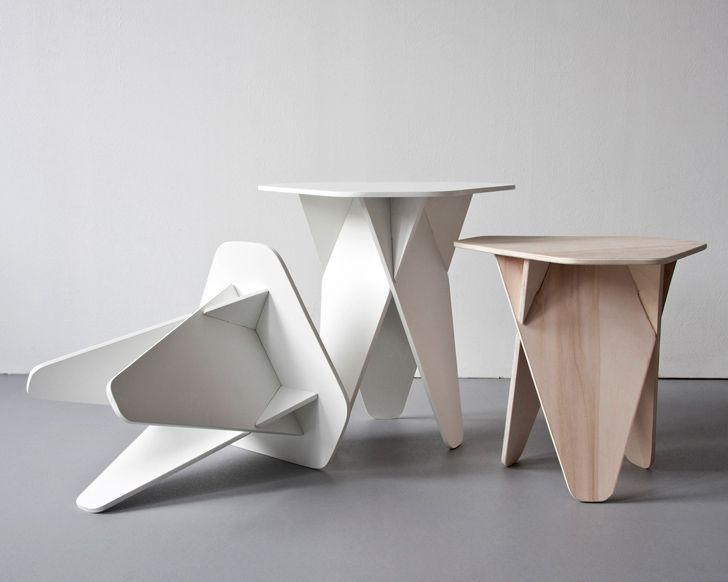 Andreas Kowalewskiu0027s Wedge Side Table Is A Genius Single Material Flatpack  Design
