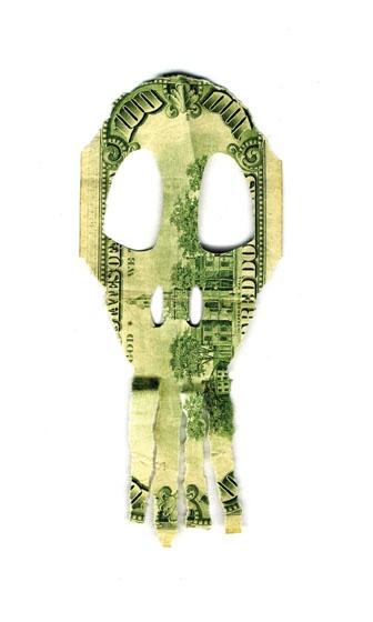 Experiencia  14 x 5 cm  Billete dolar falso intervenido