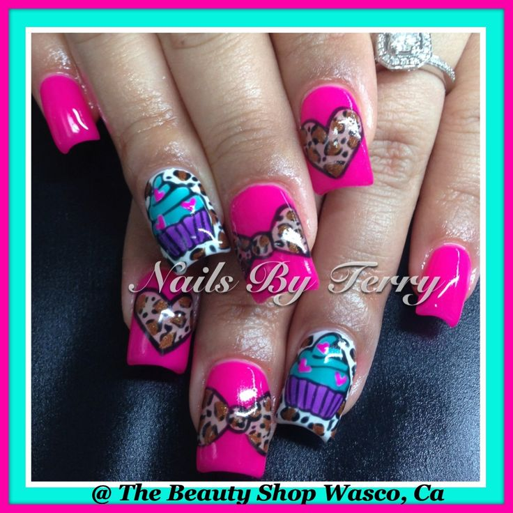 67 best animal print nail art by terry images on pinterest birthday cupcake nails prinsesfo Image collections
