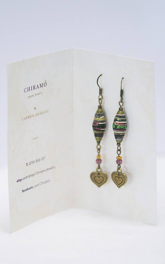 long paper bead earrings with heart decoration