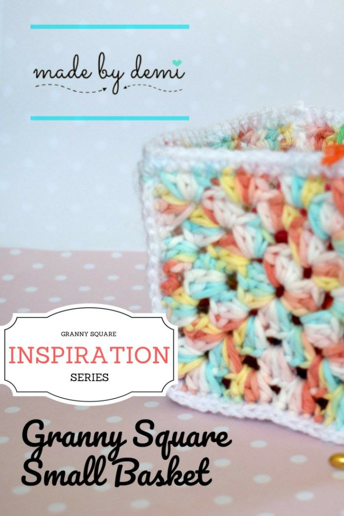 GRANNY SQUARE BASKET| CROCHET BEGINNER PROJECT | made by demi
