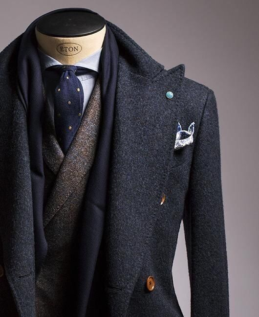 Wool flannel layered shawl neck blazer, peak lapel double breasted overcoat, spread collar, polka dot tie - great color and texture