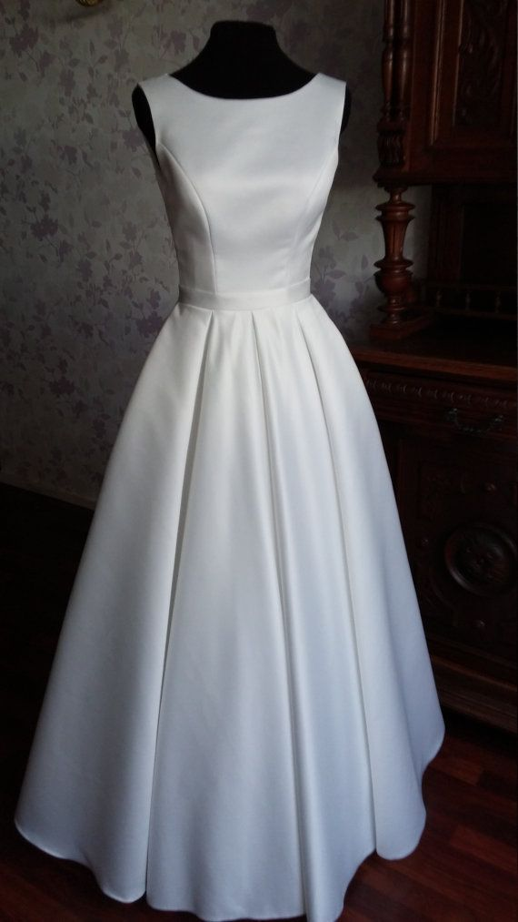Modern Minimalistic Atlas Wedding Dress with by TashaWeddingStudio