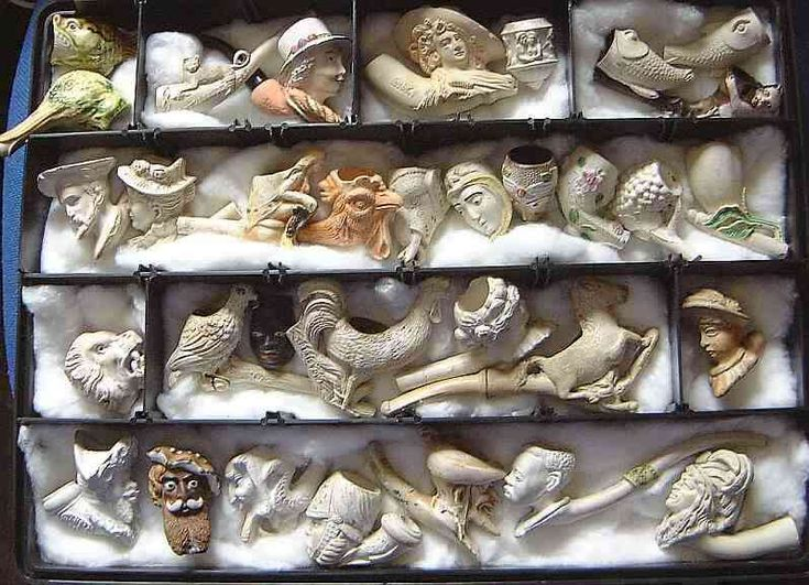 antique figural clay pipes, love this.
