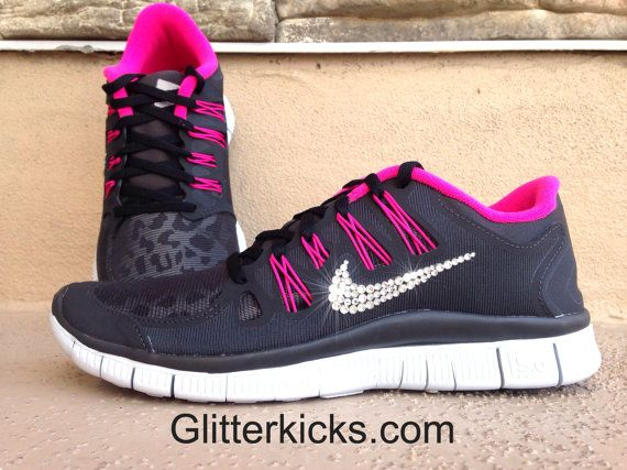 2d1774be329a Women s Nike Free Run 5.0 Shield H2O Repel Running Shoes - Leopard Cheetah  Print - Pink Black White - Customized with Swarvoski Elements crystal rh    ...