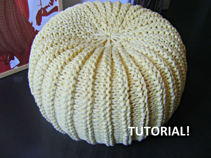 Knitting Pattern Tutorial Xxl Pouf Poof Ottoman
