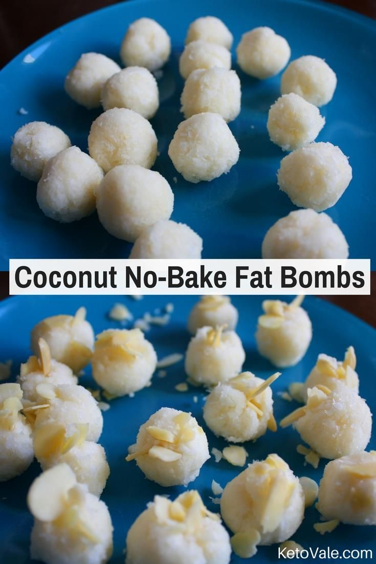 No-Bake Coconut Fat Bombs     1 cup shredded coconut unsweetened  3 tbsp virgin coconut oil  stevia extract just a dash to taste and depending on the exact type of extract you have  40 g cream cheese  ½ tsp vanilla extract  1/8 cup sliced almonds