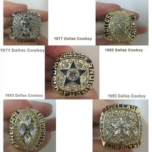 Super Cool Dallas Cowboys Reproduction Super Bowl Rings With Wooden Box-5 PCS Set 1971 1977 1992 1993 1995-Please allow up to 21 days for shipping
