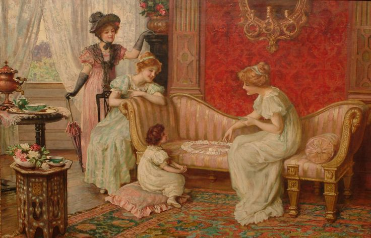 Francis Sydney Muschamp (1851-1929) - A game of patience: