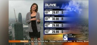 KTLA's Liberté Chan was handed a sweater while delivering the weather report after viewers complained about her outfit. (Screengrab/KTLA)