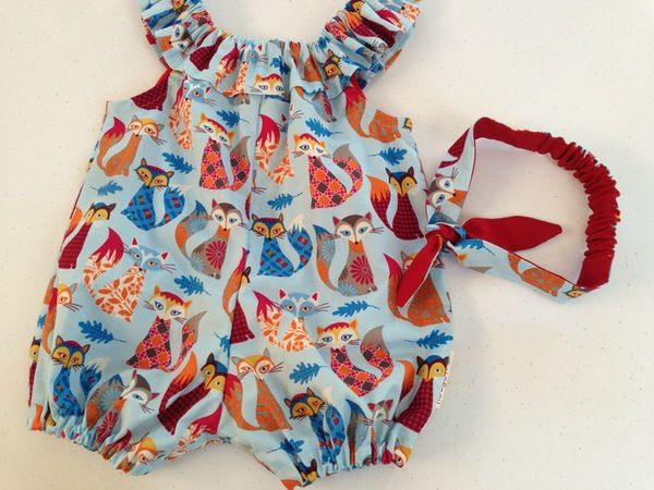 Image of Fox romper with matching headband