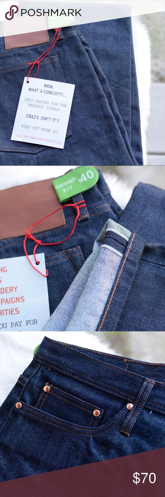 The Unbranded Brand Raw Selvedge Denim Jeans NWT. The UB201 is a tapered fit. Roomier through the seat and thigh and tapers down to a narrow leg opening. Made from 100% cotton sanforized 14.5oz Japanese rope dyed indigo selvedge raw denim. Featuring a button fly, hidden rivets, chain stitched hem and leather patch. - 14.5oz Japanese raw sanforized selvedge denim - Rope dyed indigo - 5 pocket, button fly closure - Hidden selvedge coin pocket detail - Hidden rivets - Blue ear selvedge…