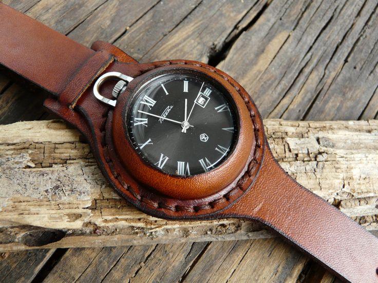 NOS Very rare vintage pocket watch Raketa 1970's by RetroWatch, $199.90~ Really nice leatherwork