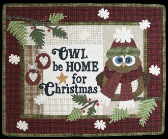 Owl Be Home For Christmas Quilt Signs Pattern by The Wooden Bear at KayeWood.com. Hang this cute Christmas quilt during the holidays to cozy up your home.  Use any fabric you like. http://www.kayewood.com/Owl-Be-Home-For-Christmas-Quilt-Signs-Pattern-by-The-Wooden-Bear-WB-OWBE.htm $8.95