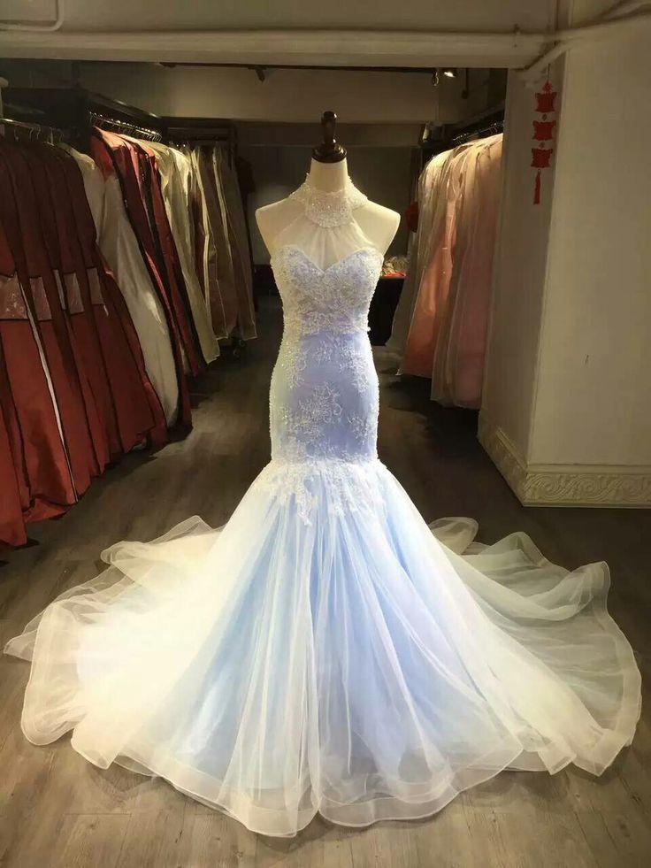 High Neck Sexy Mermaid Lace Wedding Dress,Colorful Bridal Dress,Halter Neckline Mermaid Light Blue Wedding Gown