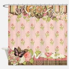 old time butterfly shower curtain for