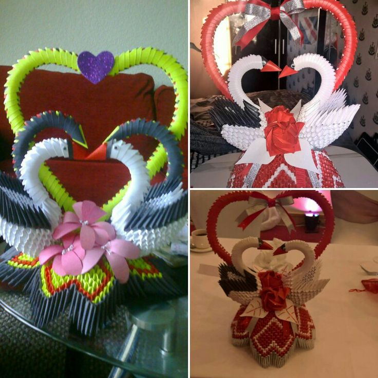 3d origami swans. Perfect for a wedding decorations