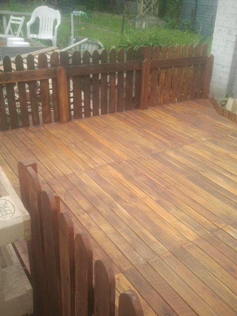 My terrace made out of repurposed wooden pallets pallet for Garden decking from pallets