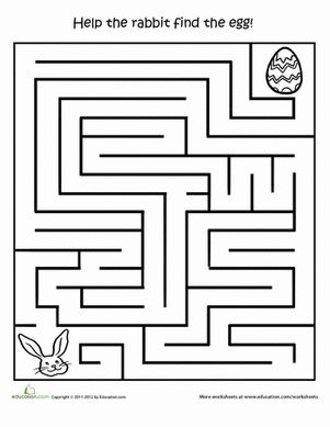 Easter Preschool Mazes Worksheets: Printable Easter Activities: Egg Hunt Maze