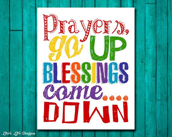 Prayers go up Blessings come down. Christian Kids Room Decor. Sunday School Art by LittleLifeDesigns