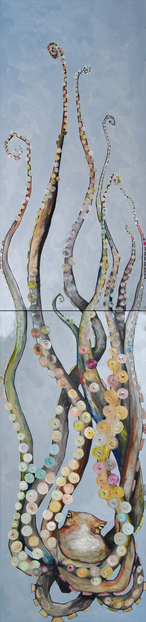 Super  Tall Octopus in Metallic Sea Salt Blue by Eli Halpin at elihalpin.com prints available at http://elihalpin.com/products/octopus-diptych-canvas-reproduction
