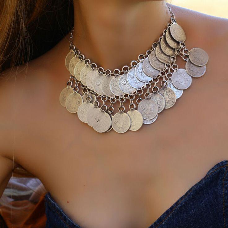 Collar Choker Antique Silver Large Boho Chunky Bohemian Statement Retro Necklace #Takimania #Collar