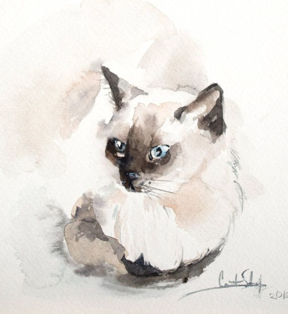 Siamese Cat Painting Original Watercolor Painting Cat by CanotStop
