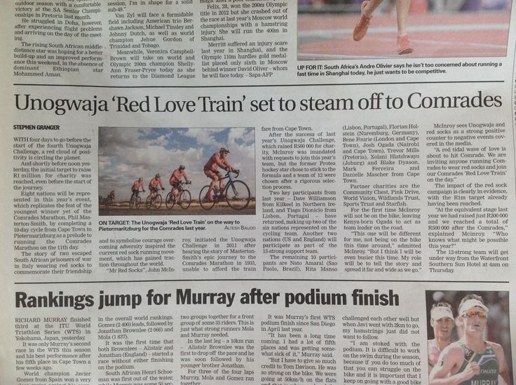 Fantastic Article in the weekend Argus! Yes The #RedLoveTrain is coming for Comrades!!