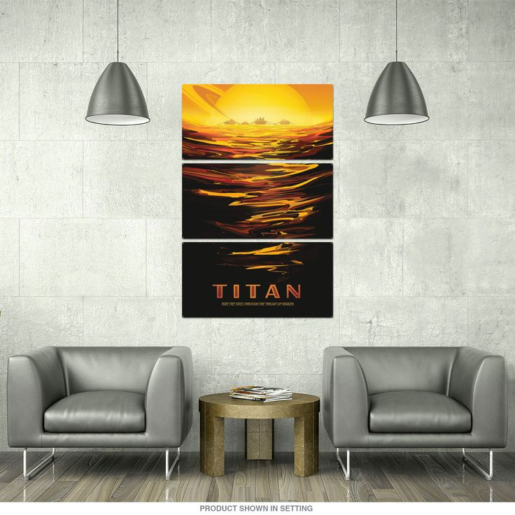 This stunning triptych wall art includes three large metal signs with one continuous image. Available in 24 x 36, 32 x 48 and 36 x 54 sizes. Heavy-duty steel panels with vibrant, travel poster-style artwork and space theme commissioned by NASA. Made to order and ships directly from manufacturer. Panels have riveted holes, ready to hang right out of the box. Made in the USA. A sensational way to decorate a large wall space in your office or game room.