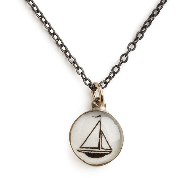 """Chart Metalworks - 18\"""" Vintage Sailboat Necklace ($60) ❤ liked on Polyvore featuring jewelry, necklaces, nautical necklace, chart metal works, charm necklace, vintage jewellery and nautical jewelry"""