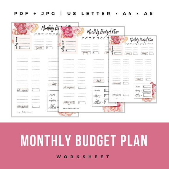 Printable Floral Monthly Budget Worksheet Debt Snowball Etsy Budgeting Worksheets Monthly Budget Worksheet Budgeting