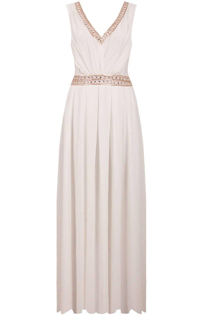 Dostępne różne rozmiary – fantastyczna suknia w śmietankowym kolorze – długa, szyfonowa kreacja dodaje gracji i wyjątkowego charakteru stylizacji – góra sukienki ciekawie, lekko marszczona – przepiękne, złote zdobienia zastosowane na wysokości talii oraz przy dekolcie, pięknie podkreślają kobiece atuty – w talii wstążka, dzięki której idealnie można dopasować sukienkę do sylwetki – suknia wprost