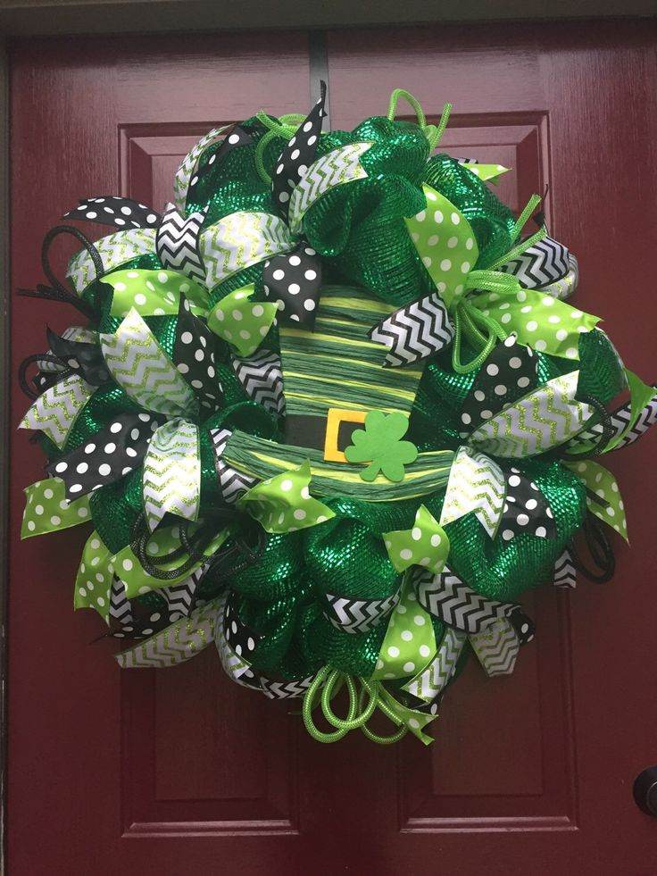 A personal favorite from my Etsy shop https://www.etsy.com/listing/220836365/st-patricks-day-deco-mesh-wreath