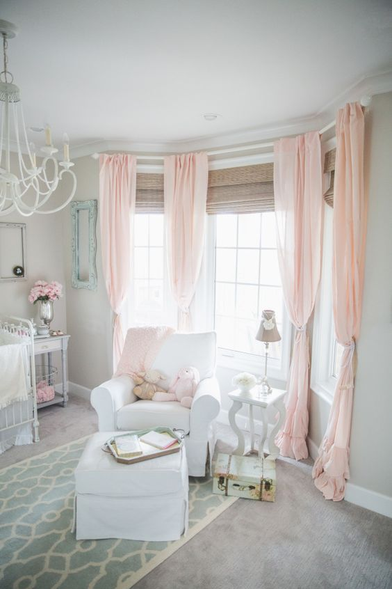 Soft and Sweet Gray and Pink Nursery - love the pops of Robin's Egg Blue, too!: