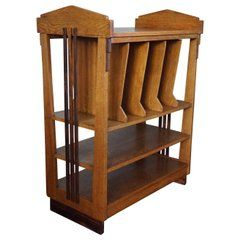 Rare and Stylish Solid Oak and Macassar Art Deco Amsterdam School Magazine Stand